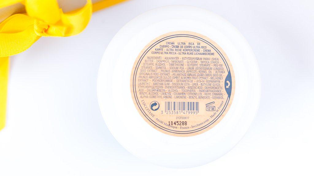 L'occitane body ultra rich cream skład